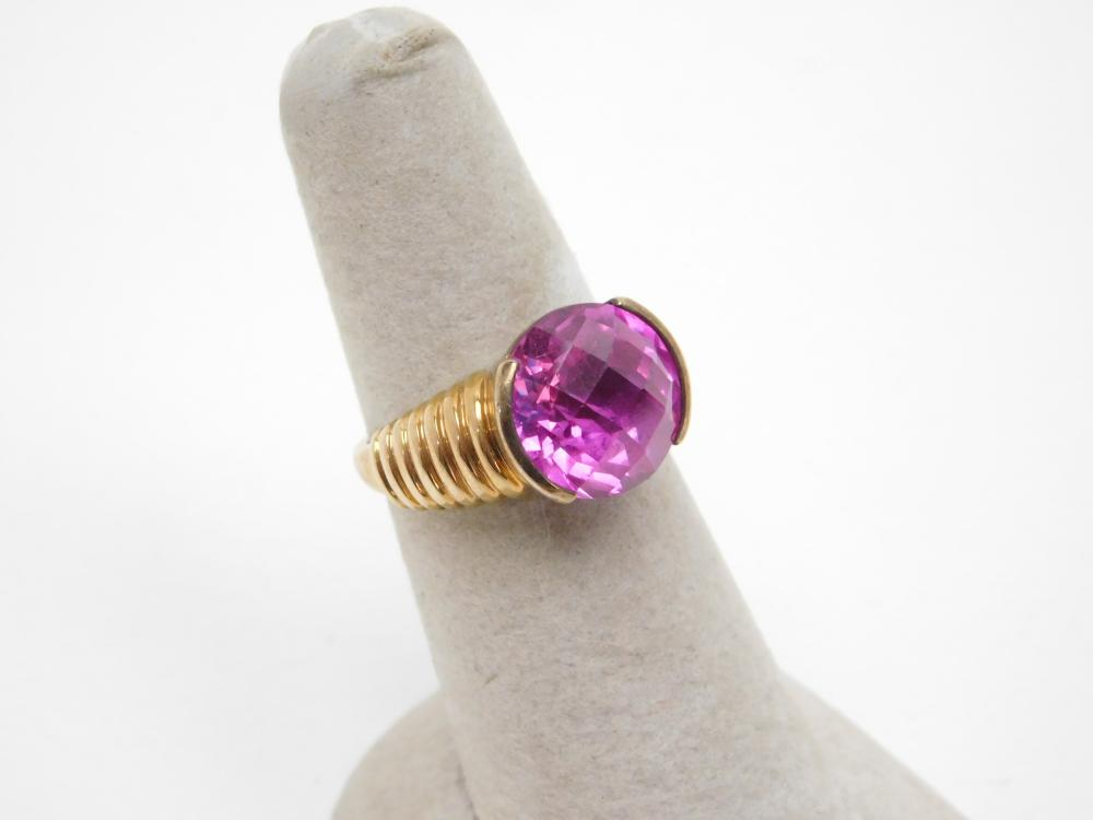Goldtone Sterling Silver Dark Pink Stone Ring 6.1G Sz7