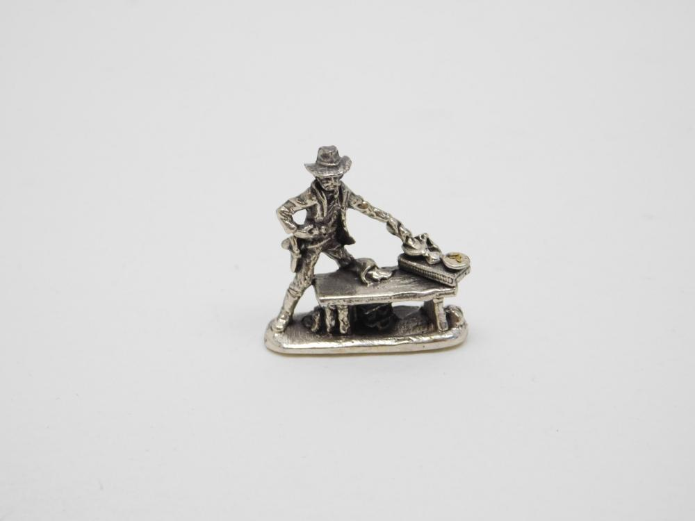 Miniature Sterling Silver Gold Miner Drying Gold Figurine 8.5G
