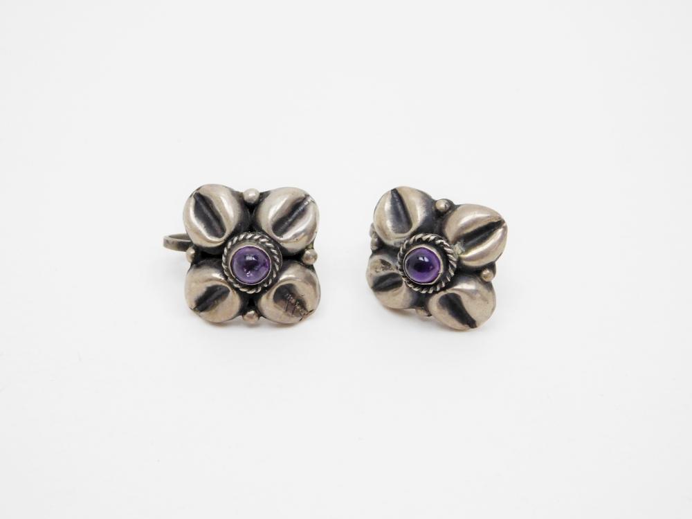 Vintage Mexico Sterling Silver Amethyst Art Deco Screw Back Earrings 7.9G