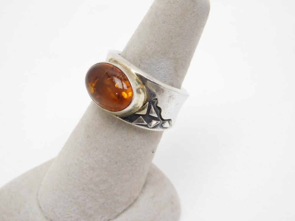 Custom Made Sterling Silver Baltic Amber Ring 7.4G Sz8