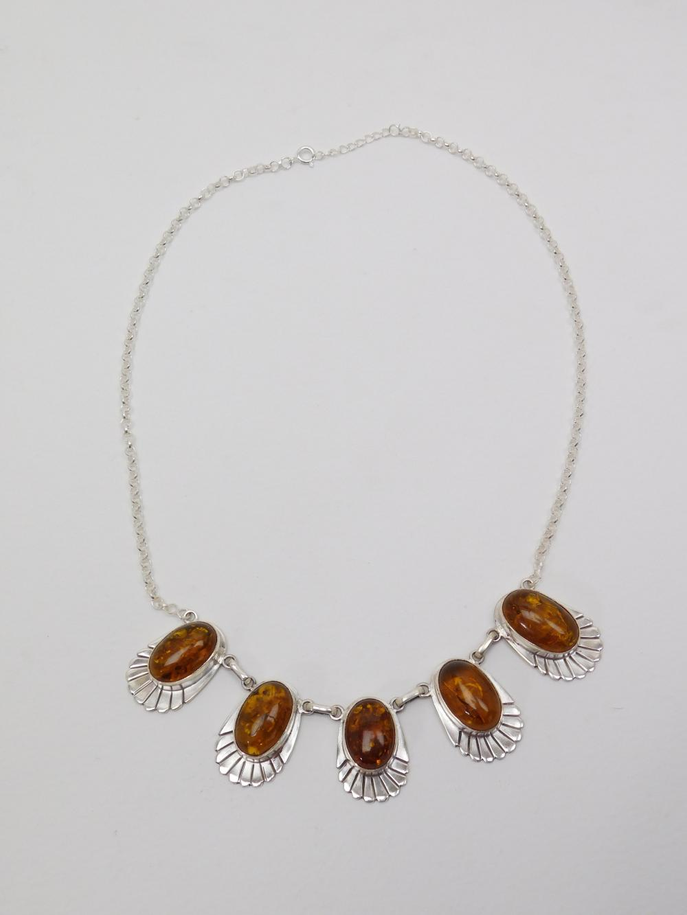 Vintage Mexico Sterling Silver Baltic Amber 5 Cabachon Handmade Necklace 42G