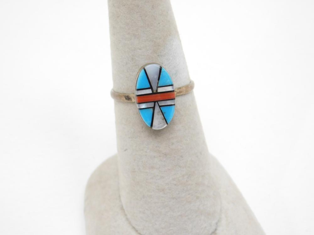 Vintage Native American Zuni Madeline Beyuka Multistone Inlaid Ring 2G Sz7.75
