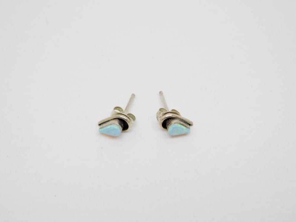 Vintage Native American Sterling Silver Opal Shadowbox Teardrop Petite Earrings