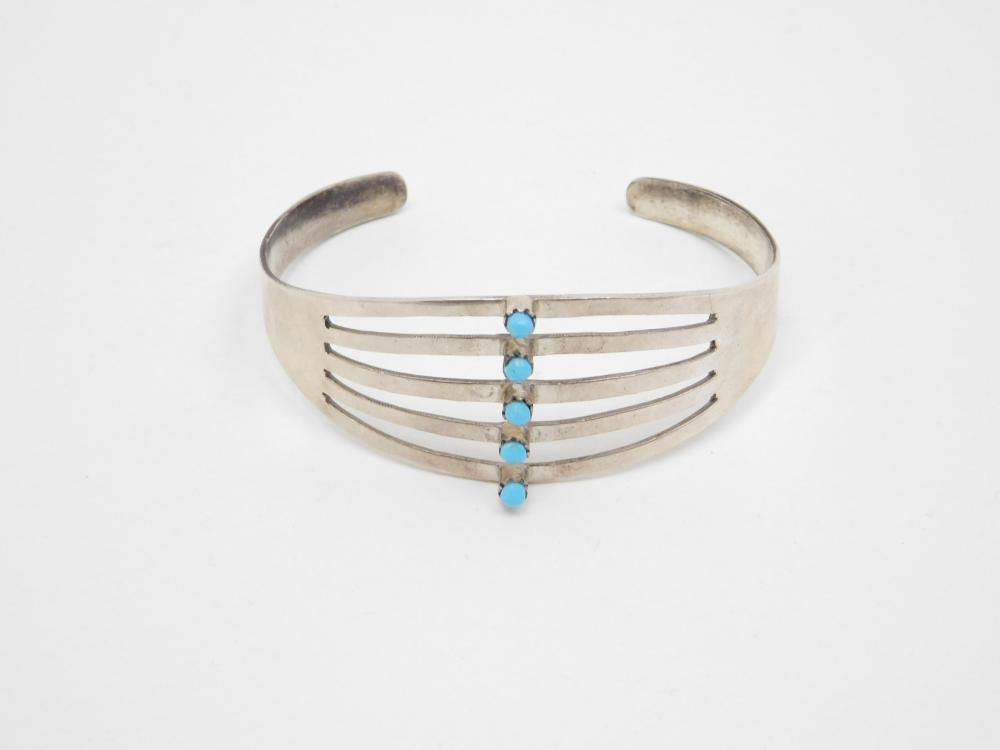 Vintage Native American Navajo Sterling Turquoise Cuff Bracelet 18.6G