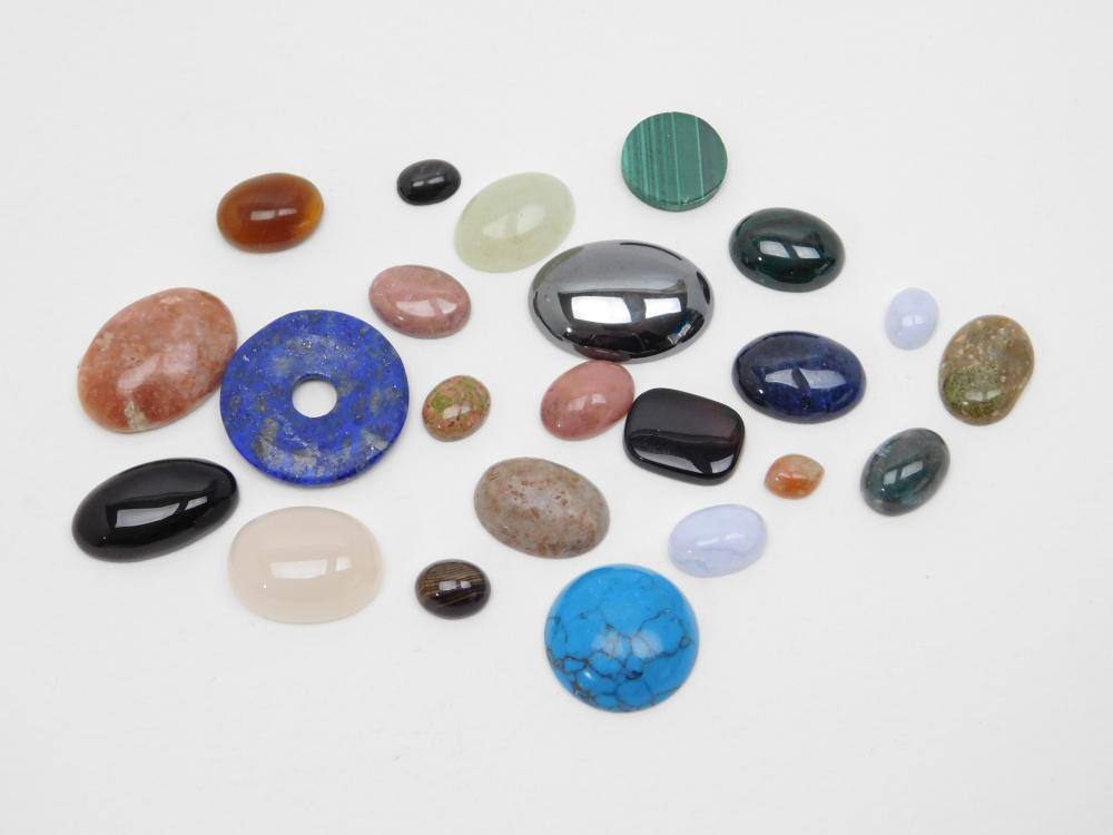 220Ct Lot Of Mixed Semiprecious Stone Cabachons For Jewelry Making