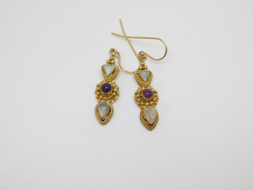 Thailand Vermeil Sterling Silver Opal Amethyst Moonstone Dangle Earrings  4.2G