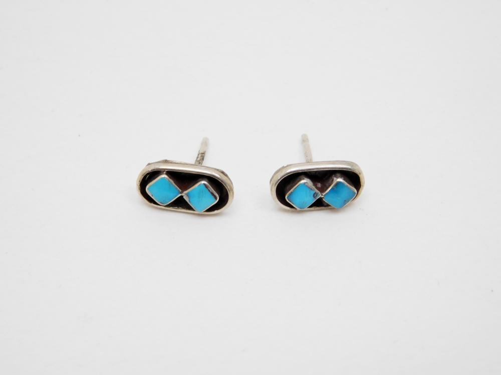 Vintage Native American Sterling Silver Turquoise Shadowbox Earrings 1.1G