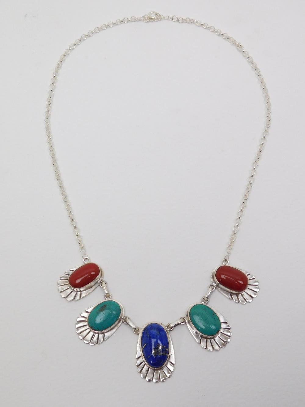 Vintage Mexico Handmade Sterling Silver Turquoise Lapis Coral 5 Cabachon Necklace 42G