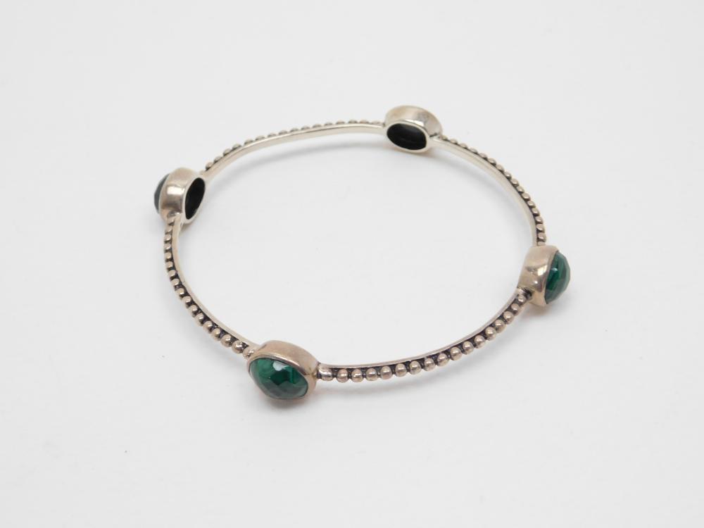 Hj India Sterling Silver Faceted Malachite Bangle Bracelet 14.8G