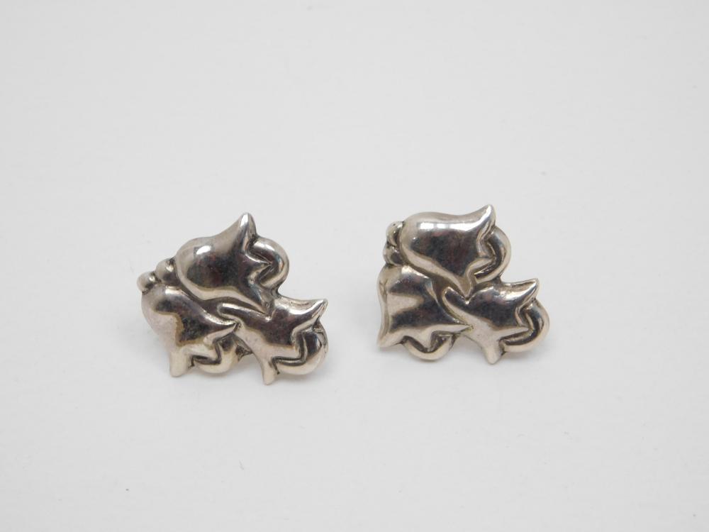 Vintage Mexico Sterling Silver Art Deco Flower Screwback Earrings 8G