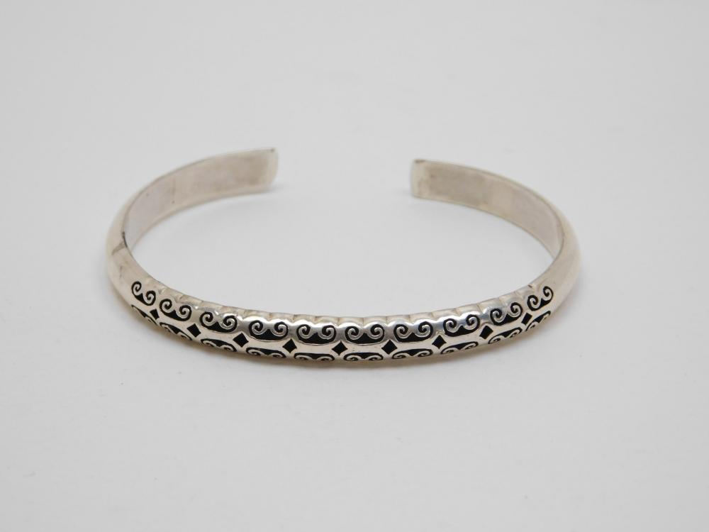 Sterling Silver Fancy Cutout Shadowbox Cuff Bracelet 11.7G
