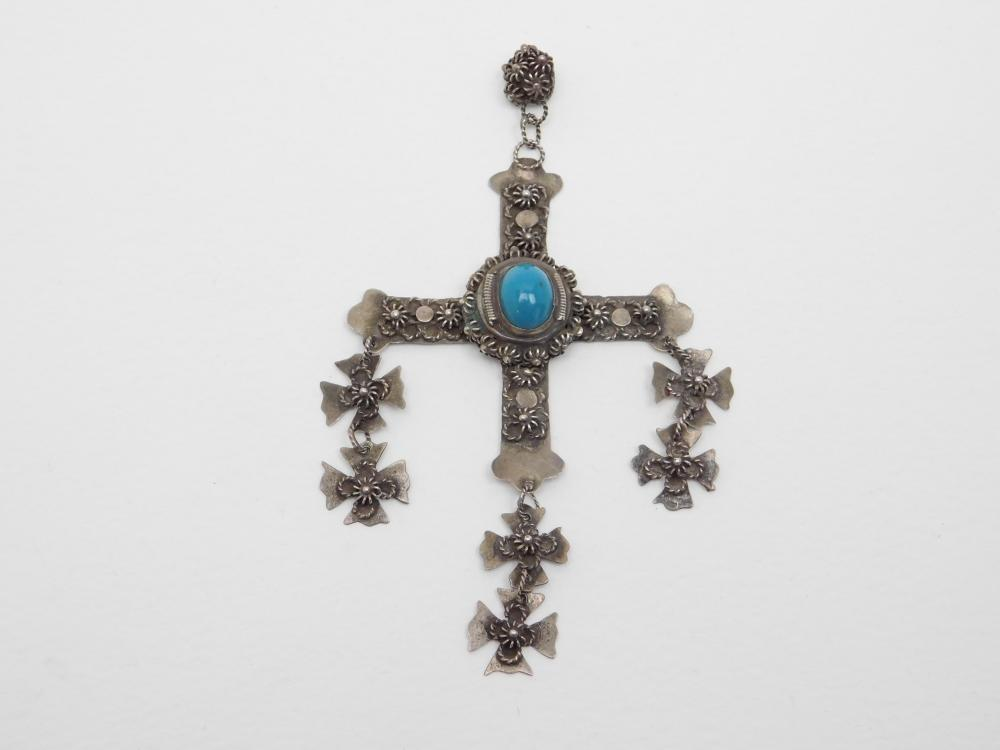 """Vintage 4"""" Taxco Mexico Sas Sterling Silver Turquoise Cross Dangle Pendant 12.6G"""