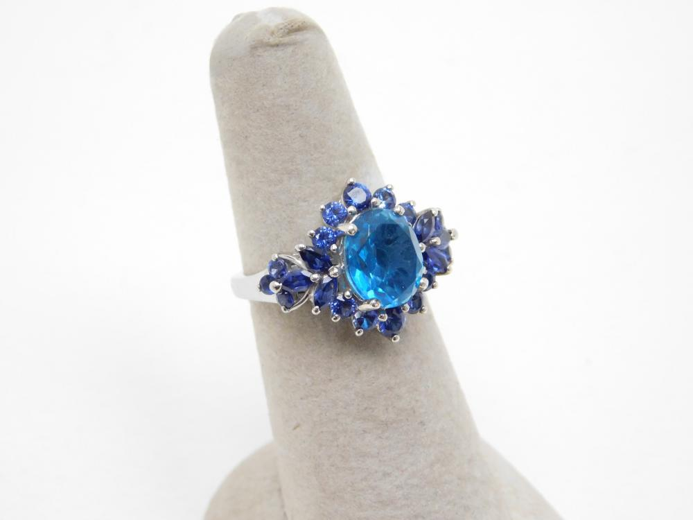Sts Sterling Silver Blue Cz Cluster Fashion Cocktail Ring 4.6G Sz7
