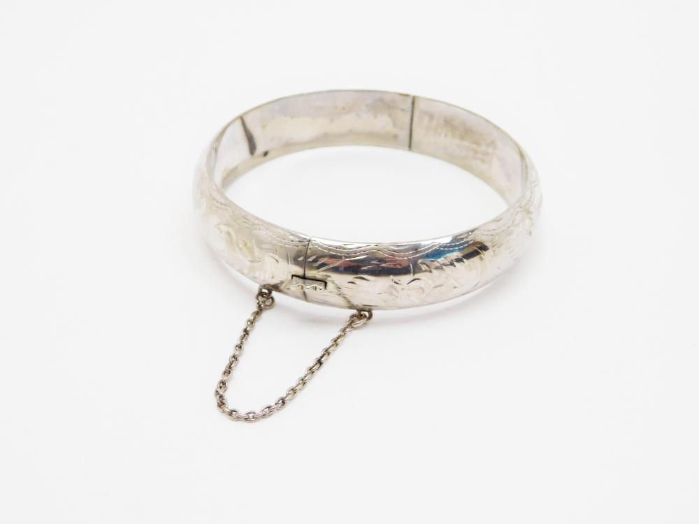 Vintage Hand Etched Sterling Silver Eurs Clamp Bangle Bracelet 19.3G