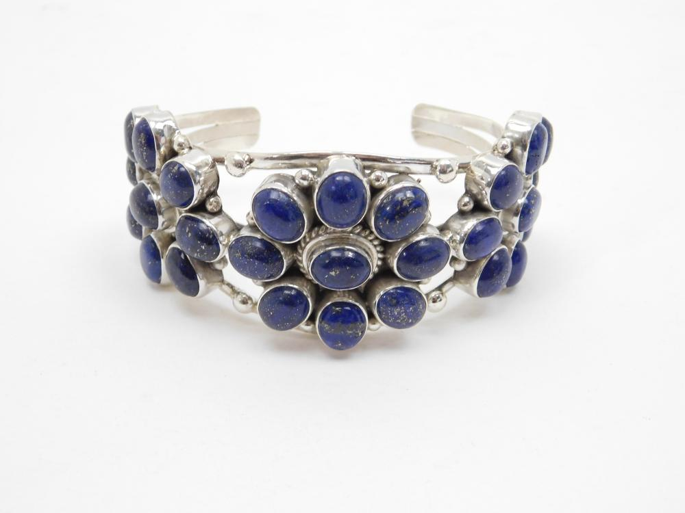 Mens Mexico Sterling Silver Lapis Triple Cluster Cuff Bracelet 132G