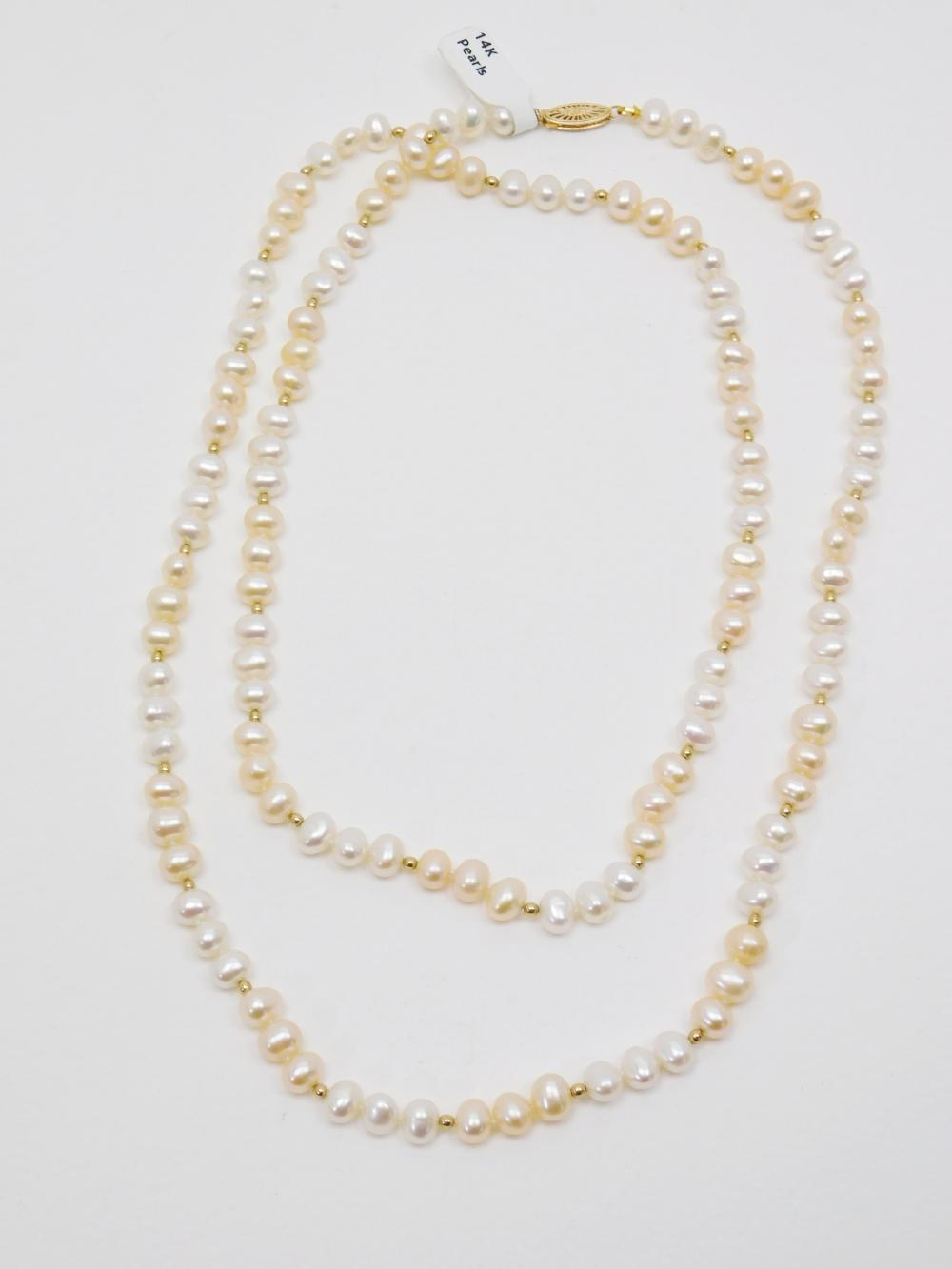 """14K Gold Clasp & Bead Cultured Pearl 37"""" Body Necklace 46G"""
