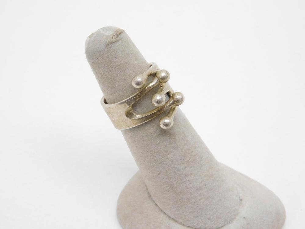 Vintage Anna Greta Eker Age Norway Sterling Silver Modernist Jester Ring 8.4G Sz7