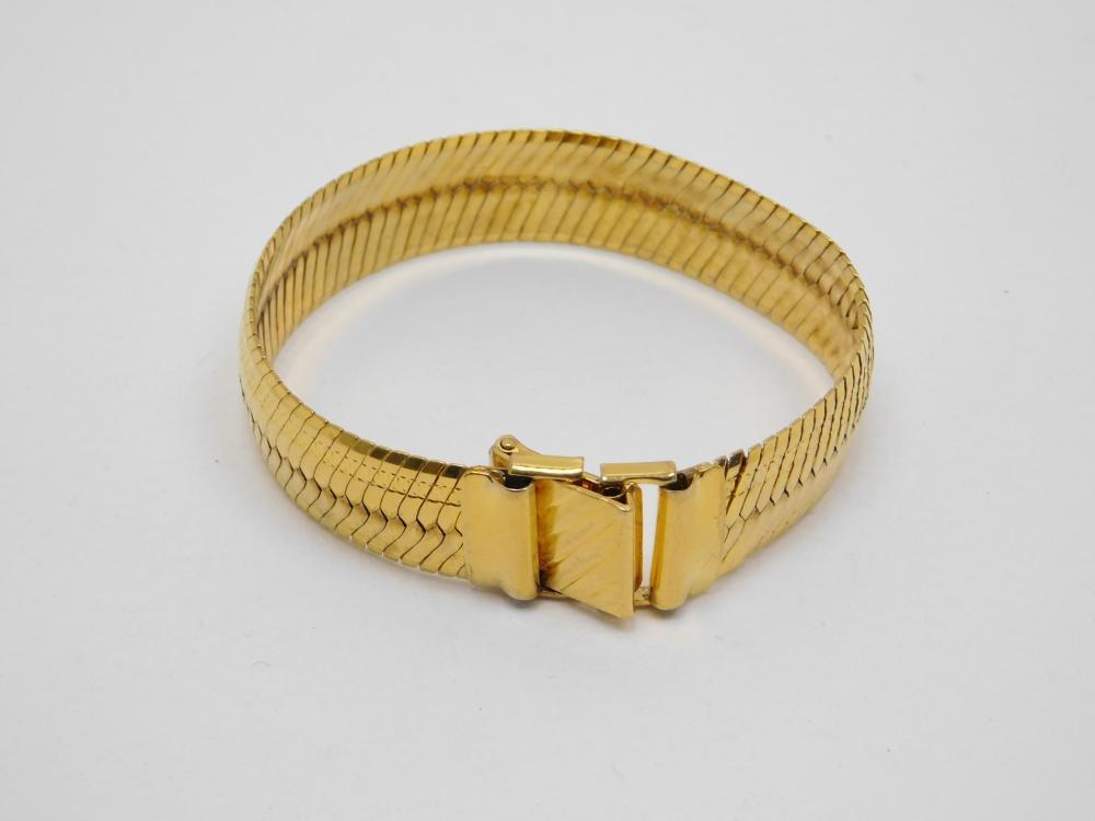 Italian Milor Sterling Silver Vermeil Herringbone Wide Fashion Bracelet 24G