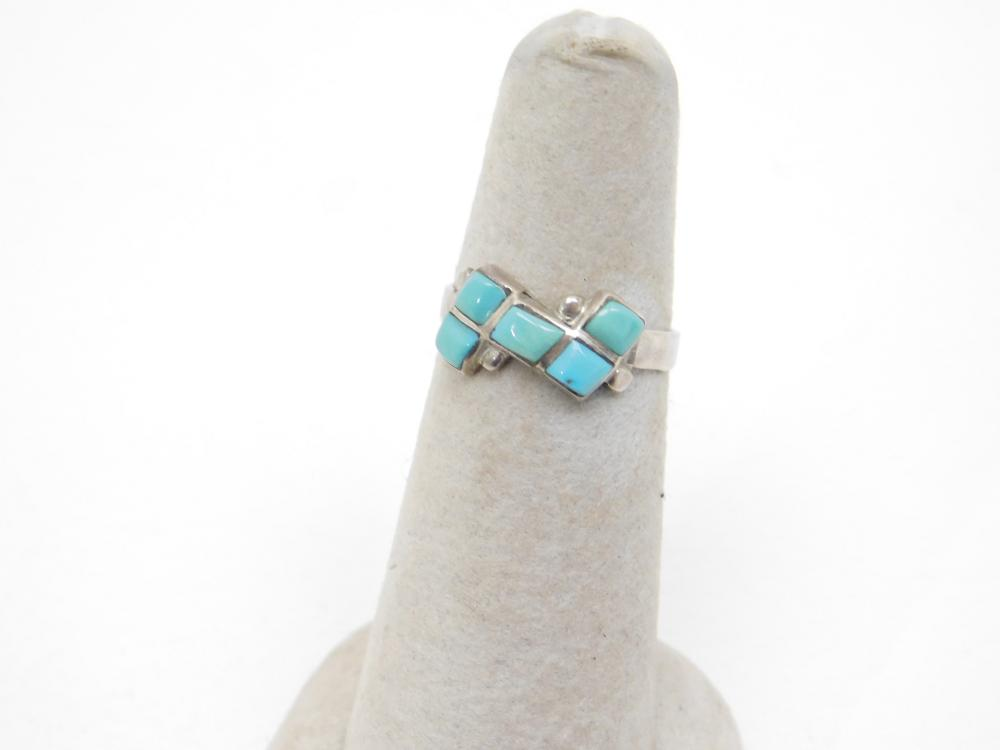 Vintage Native American Navajo Sterling Silver Inlaid Turquoise Handmade Ring 1.7G Sz6.25