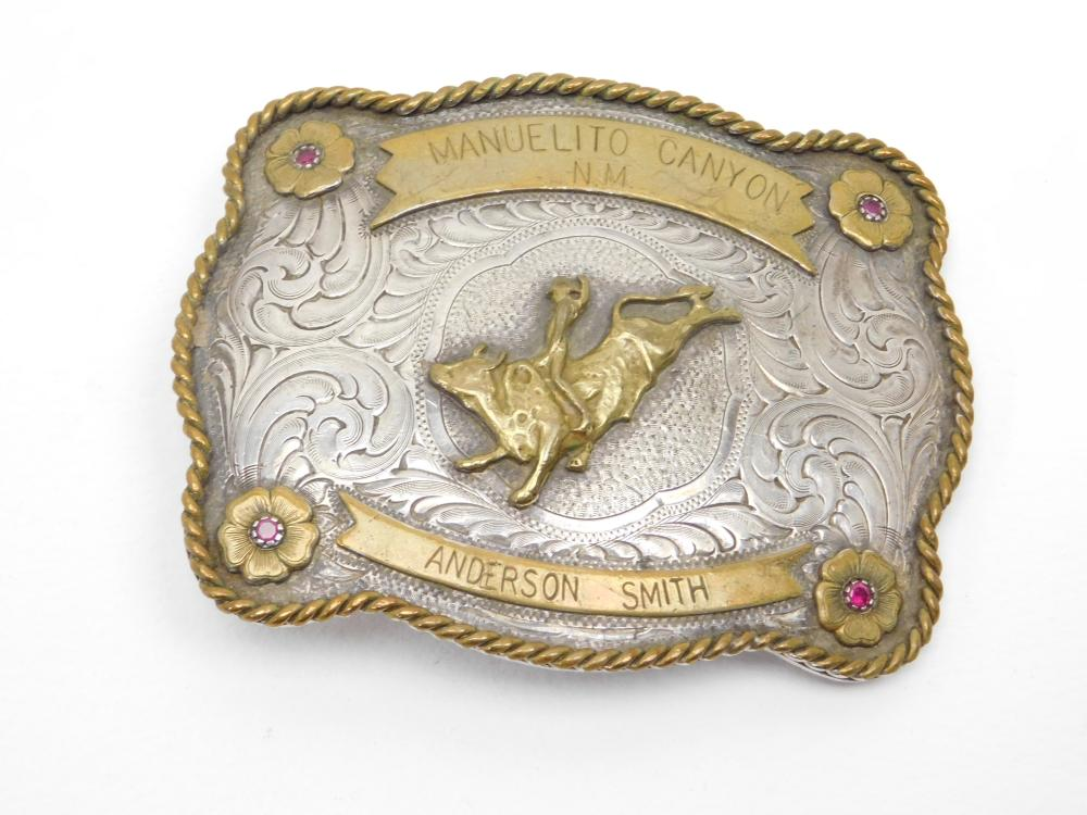 Vintage Montana Silversmiths Manuelito Canyon Anderson Smith Rodeo Style Belt Buckle