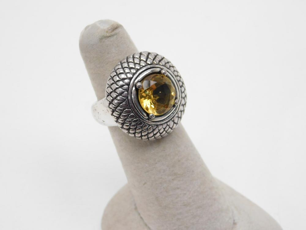 Thailand Sterling Silver Yellow Citrine Dome Top Ring 6.8G Sz6.25