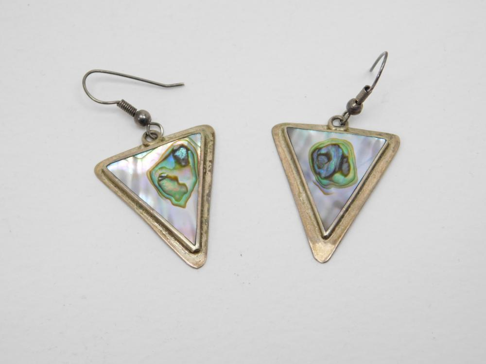 Vintage Alpaca Mexico Silverplated Abalone Triangle Dangle Earrings 6.6G