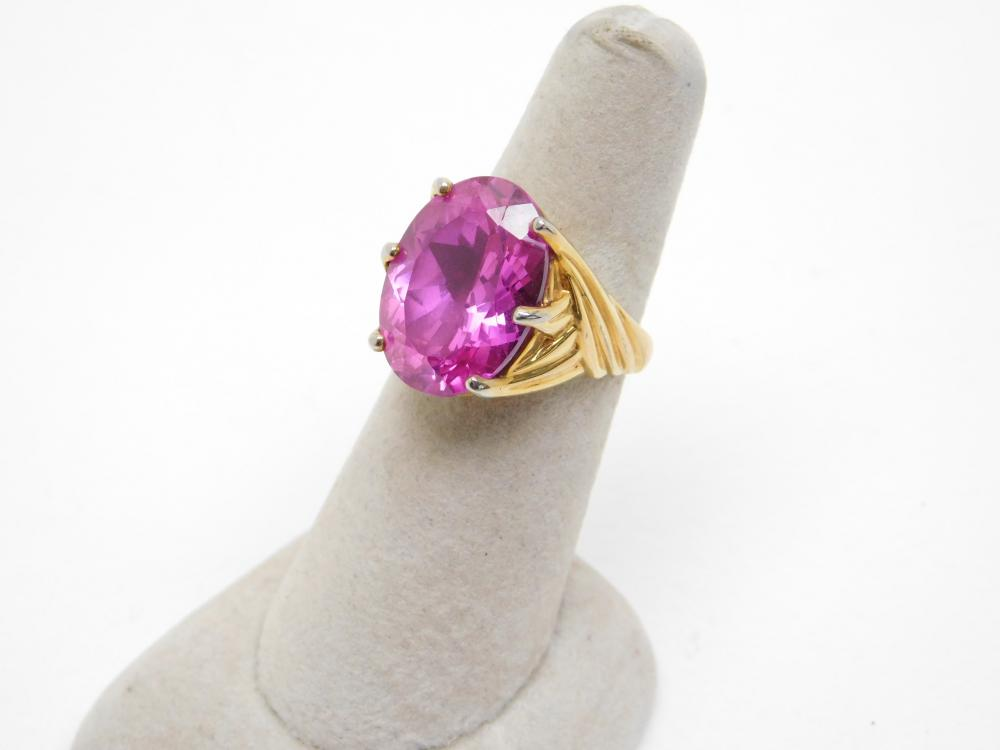 Sterling Silver Vermeil Large Pink Stone Fashion Cocktail Ring 9.7G Sz7