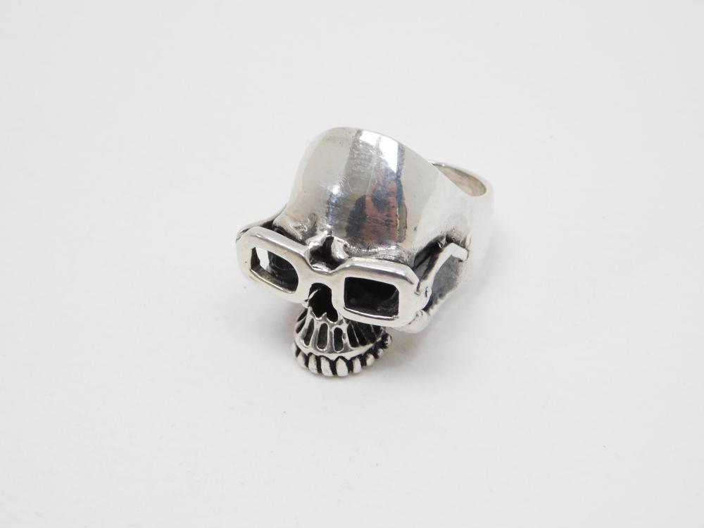 Huge Mens Sterling Silver Biker Skull With Glasses Goggles Ring 26G Sz11.5