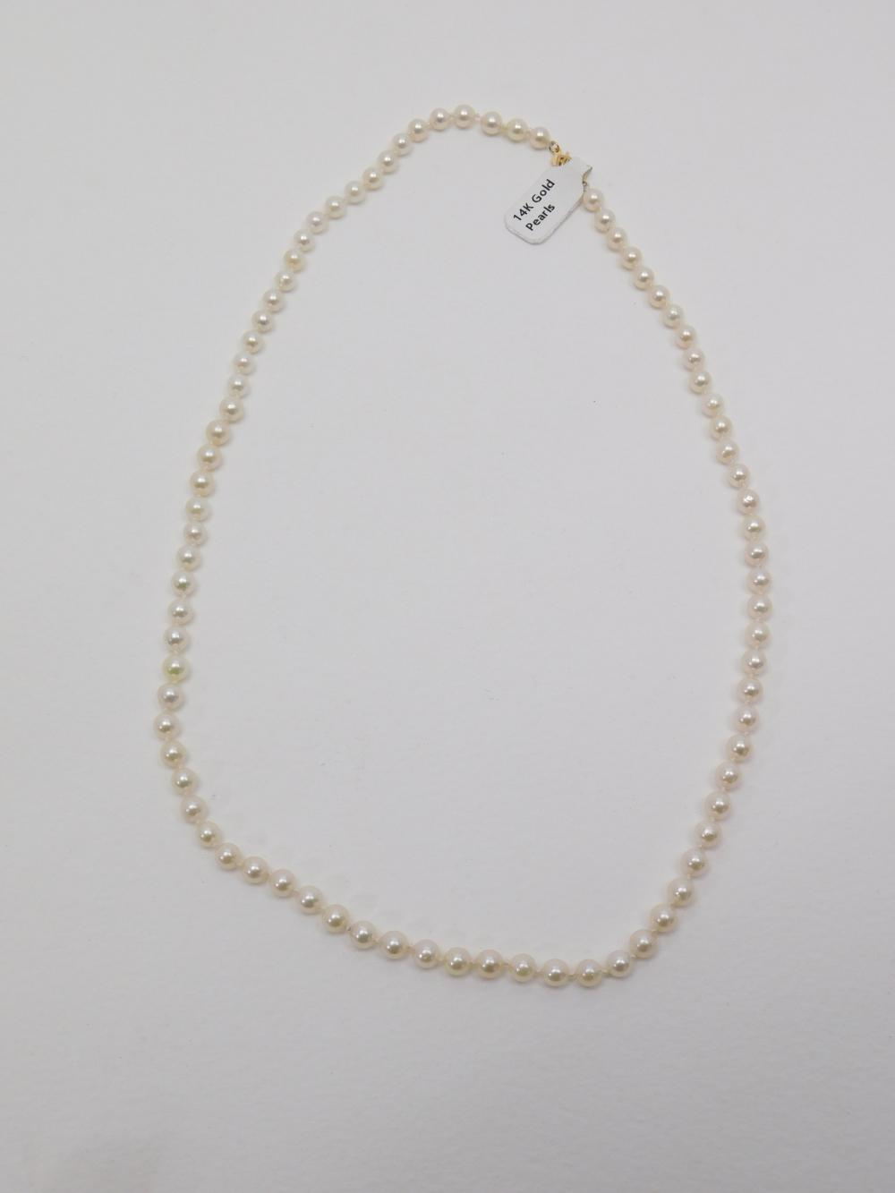 Vintage 14K Gold Clasp Pearl 20 Inch Necklace 17G
