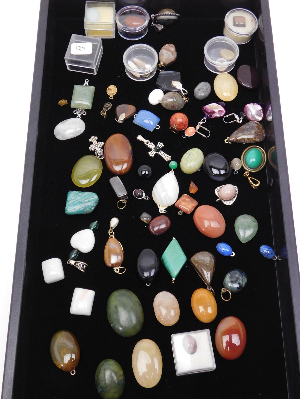 Large Mixed Lot Of Semiprecious Stone Cabachons And Pendants For Jewelry Making
