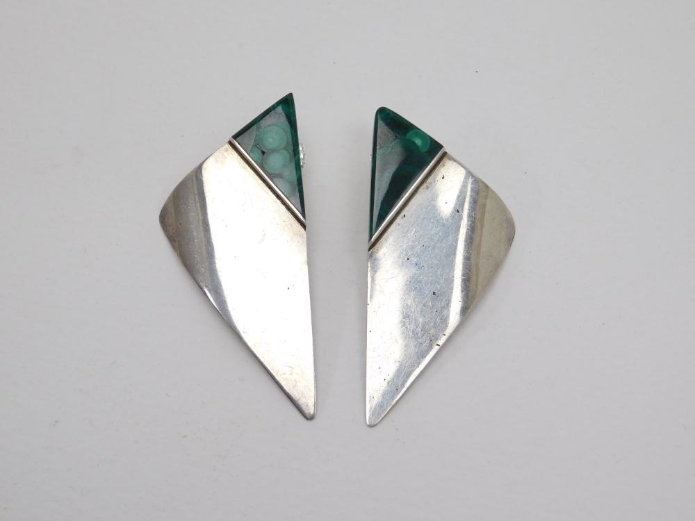 Vintage Dks Sterling Silver Malachite Modernist Earrings 16.8G