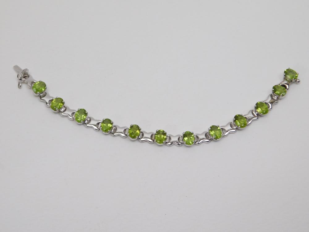 Sterling Silver Faceted Peridot Tennis Bracelet 19.8G
