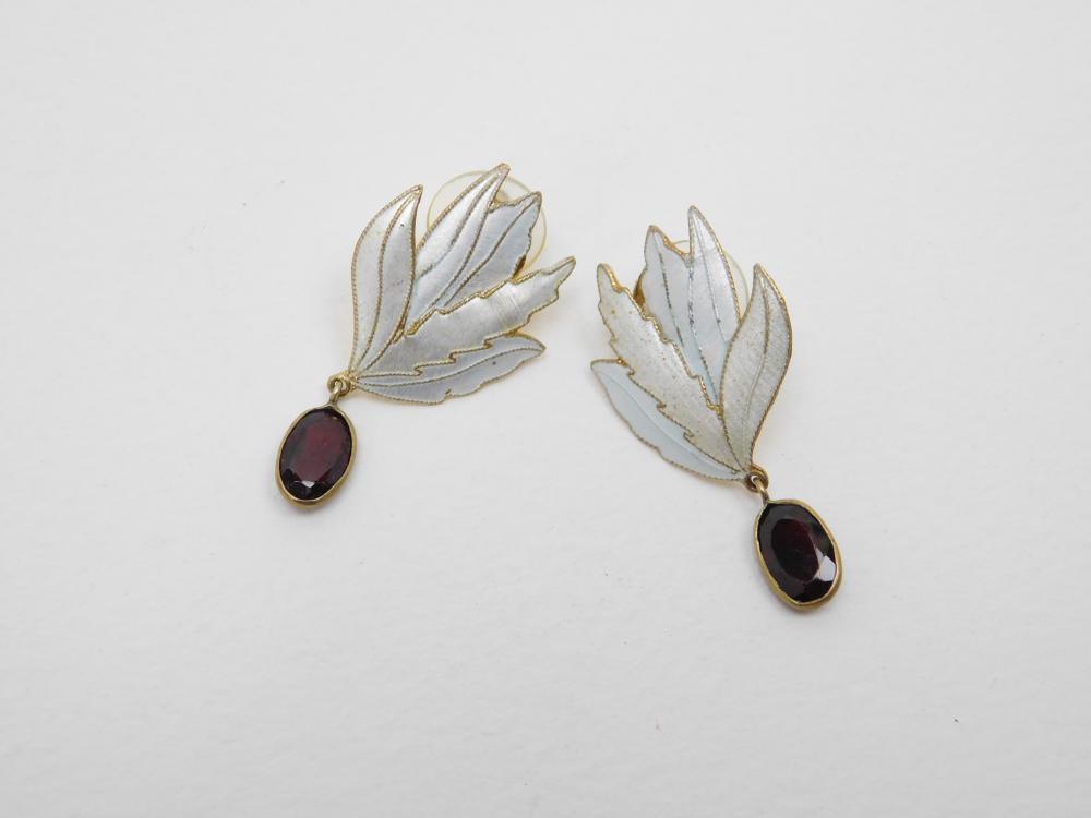Vintage Sterling Enamel Garnet Dangle Earrings 5.2G