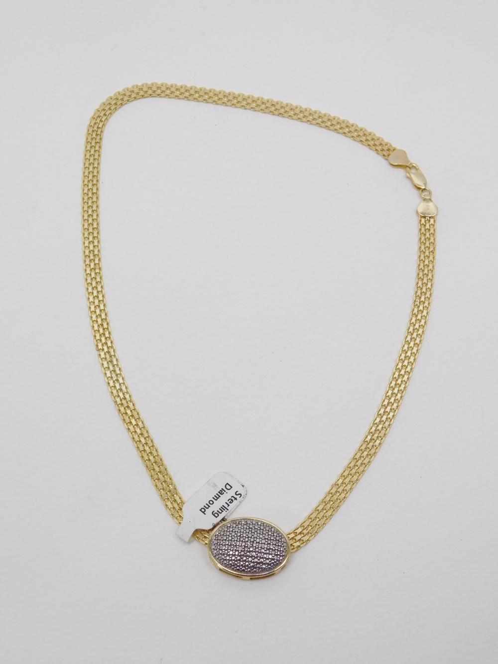 Italian Sterling Silver Goldtone Wide Necklace With Chip Diamond Slide Pendant 18.6G