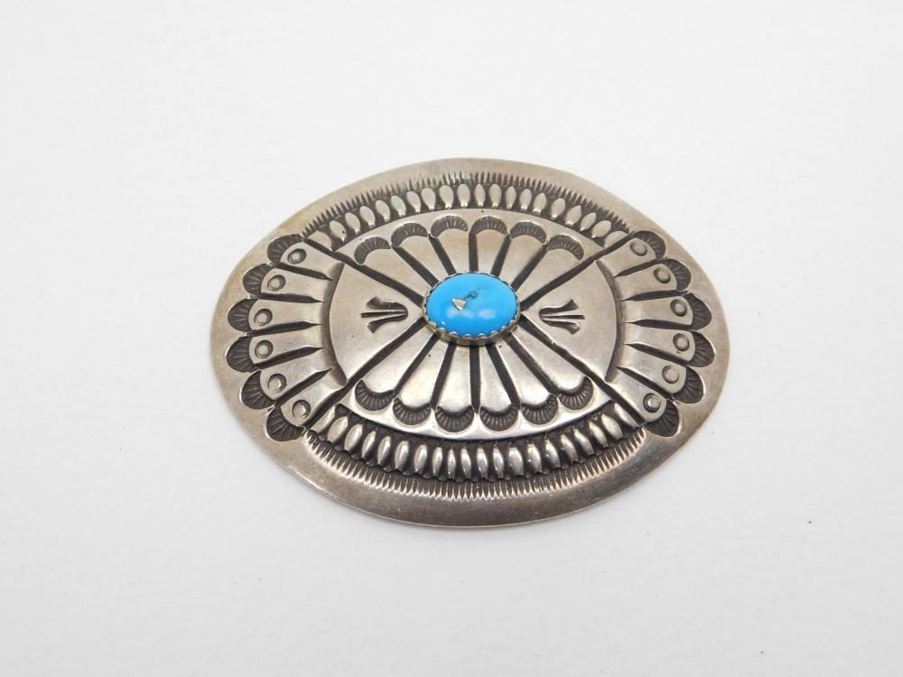 Vintage Native American Navajo Ernest Roy Begay Sterling Silver Turquoise Stamped Concho 24.7G