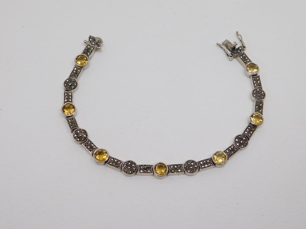 Sterling Silver Citrine Marcasite Cluster Tennis Bracelet 18G