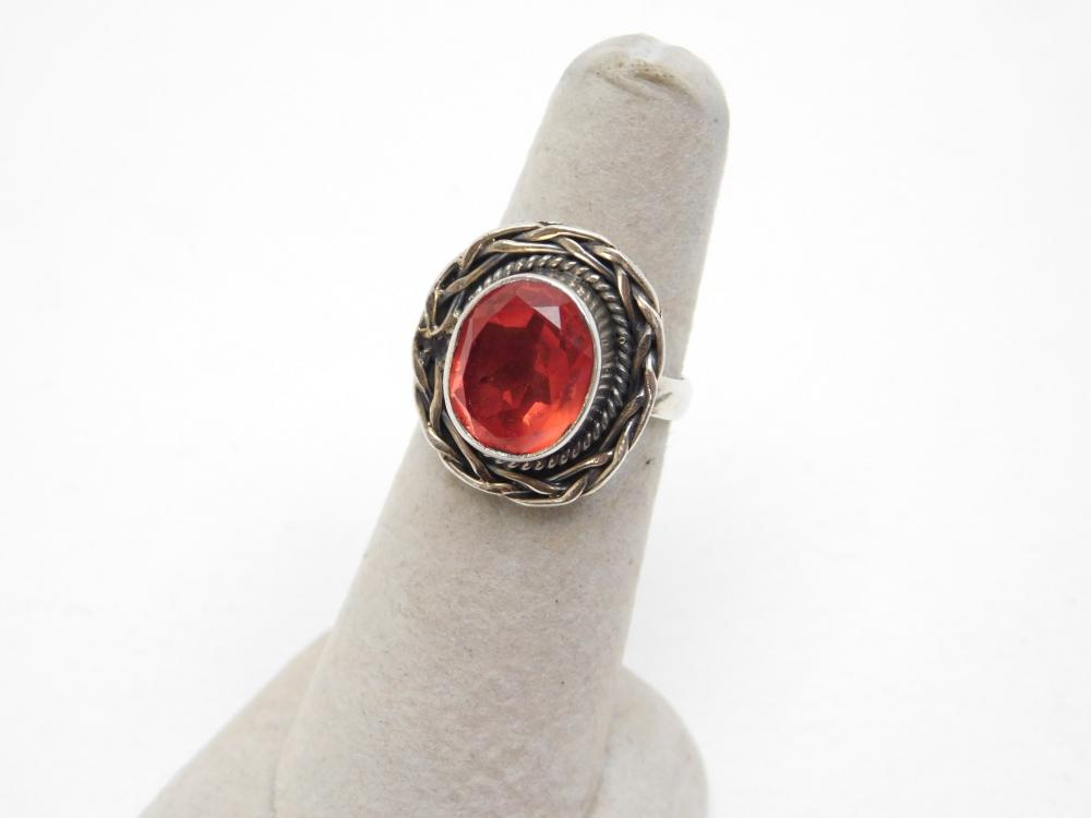 Mexico Sterling Silver Faceted Red Stone Braided Bezel Ring 5.7G Sz7