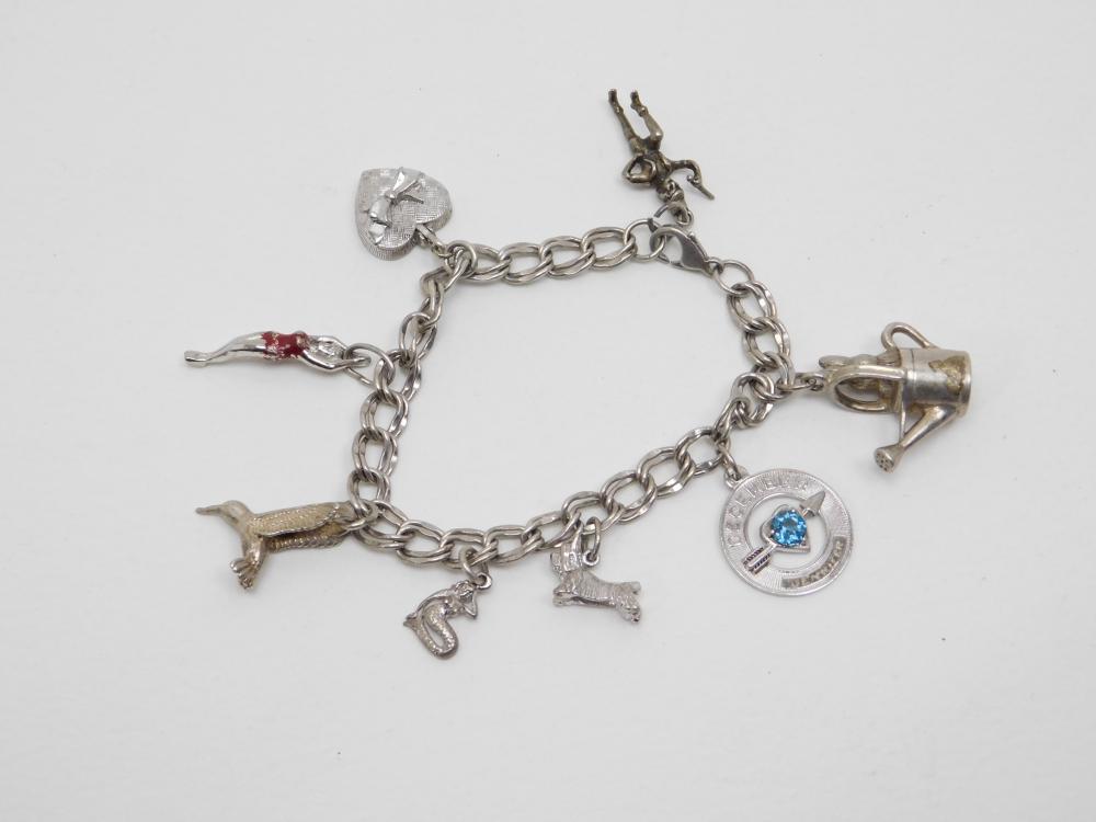Vintage Sterling Silver Charm Bracelet 30G