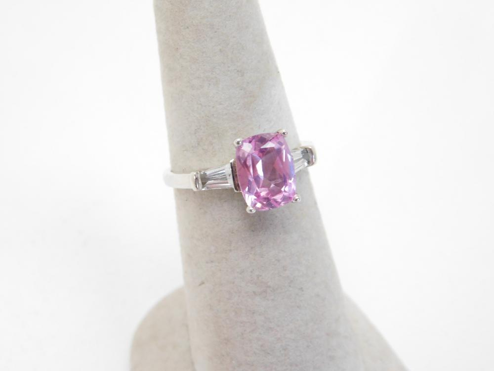 Sterling Silver Pink & Clear Cz Fashion Cocktail Ring 2.7G Sz7.5