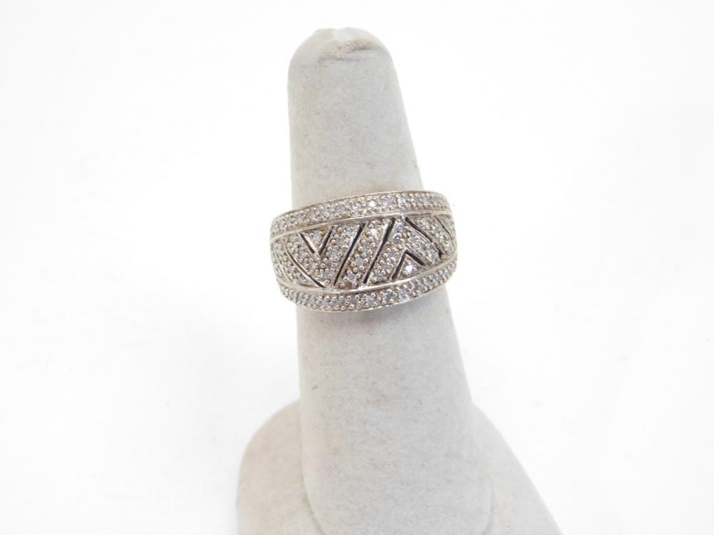 Sterling Silver Designer Hy Diamond Cluster Fashion Ring 6.4G Sz7.5