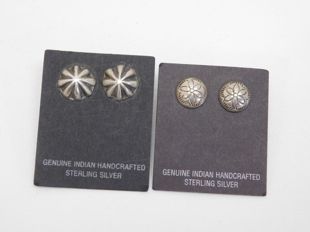 2Pr Vintage Native American Sterling Silver Stamped Concho Style Earrings 4.4G