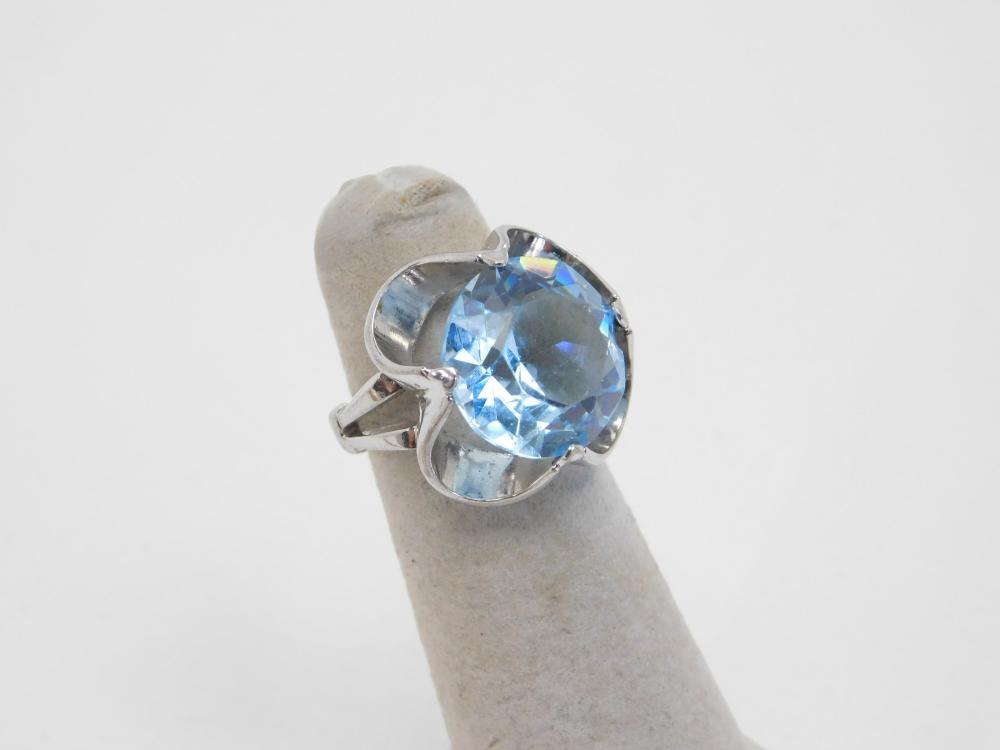 Vintage Sterling Silver Large Blue Stone Fashion Ring 7G Sz5.5