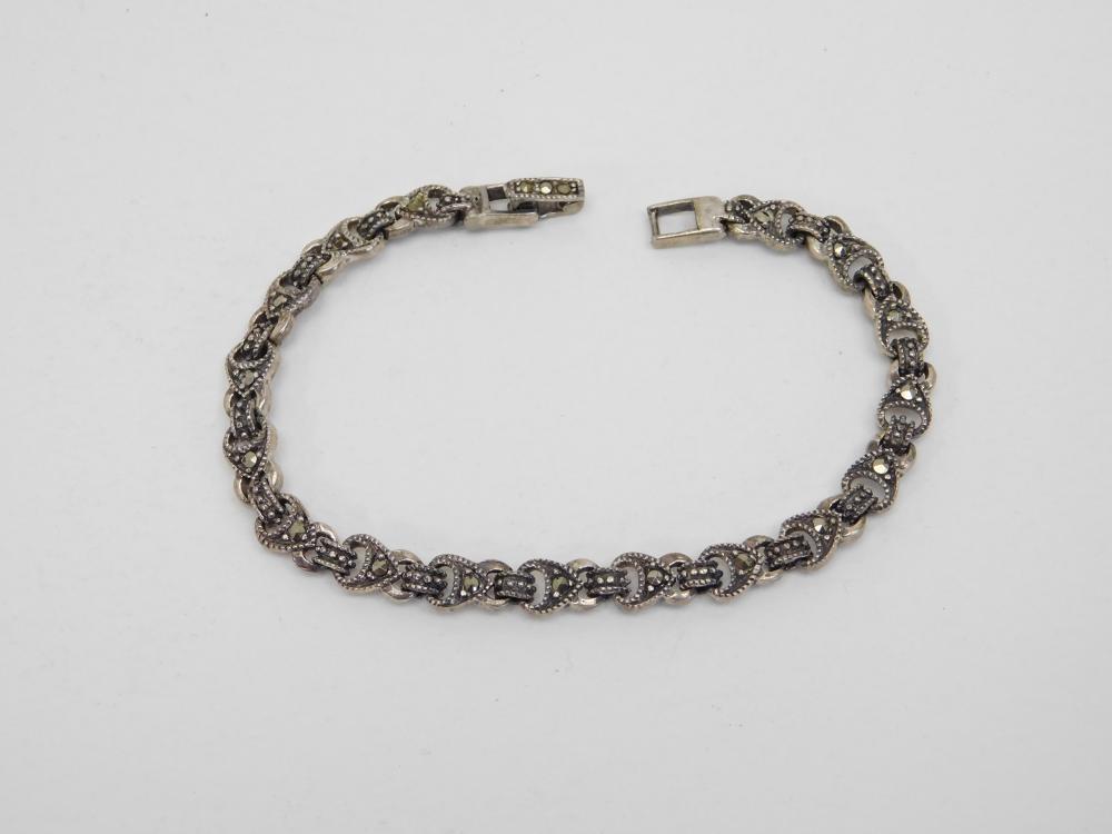 Vintage Sterling Silver Spade Link Marcasite Tennis Bracelet 11.5G