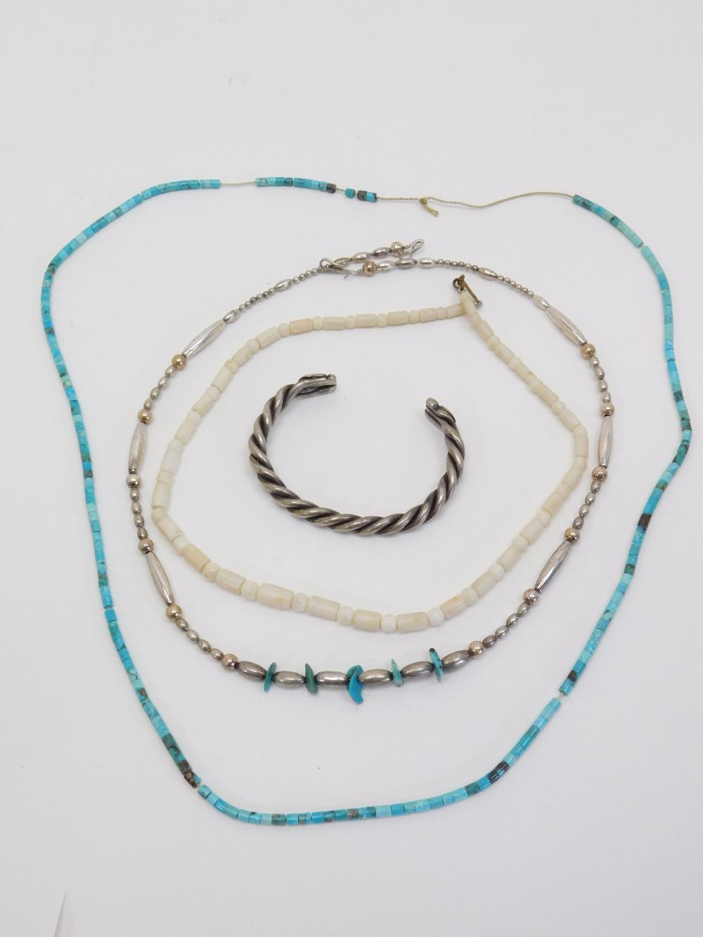 Vintage Native American Turquoise Mop Bead Necklaces & Silverplated Twisted Cuff Bracelet 73G