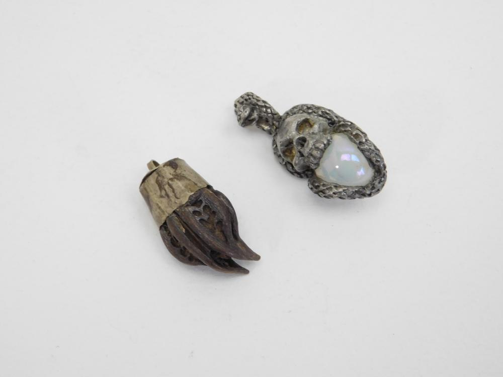 Martynia Tiger Claw Seed Pendant & Pewter Snake & Skull Pendant Lot
