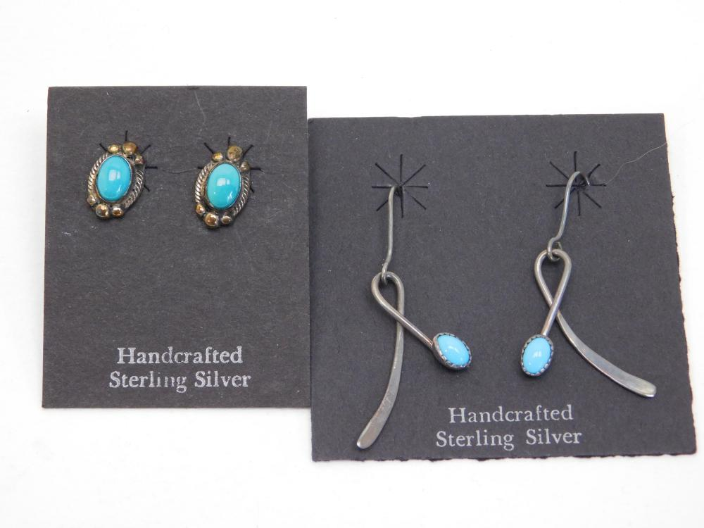 2Pr Vintage Native American Navajo Sterling Silver Turquoise Earrings