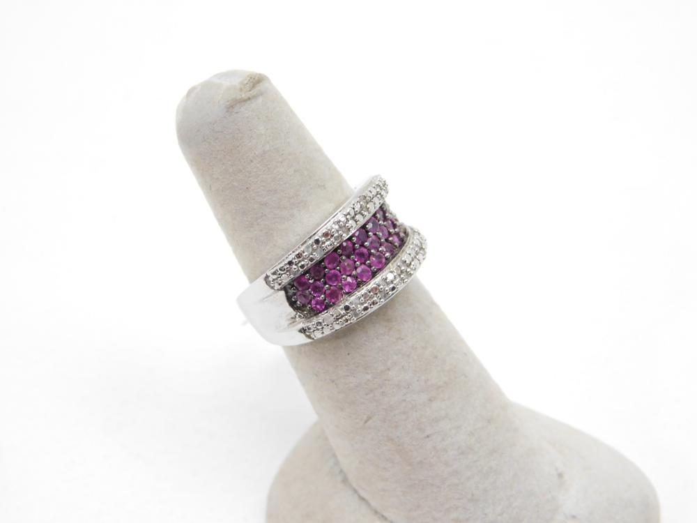 Sterling Silver Diamond Chip & Ruby Cluster Ring 7G Sz7