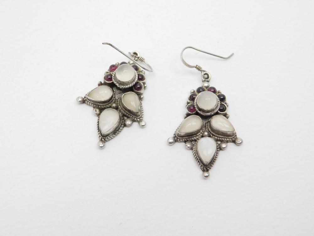 Thailand Sterling Silver Moonstone & Garnet Cluster Dangle Earrings 16G