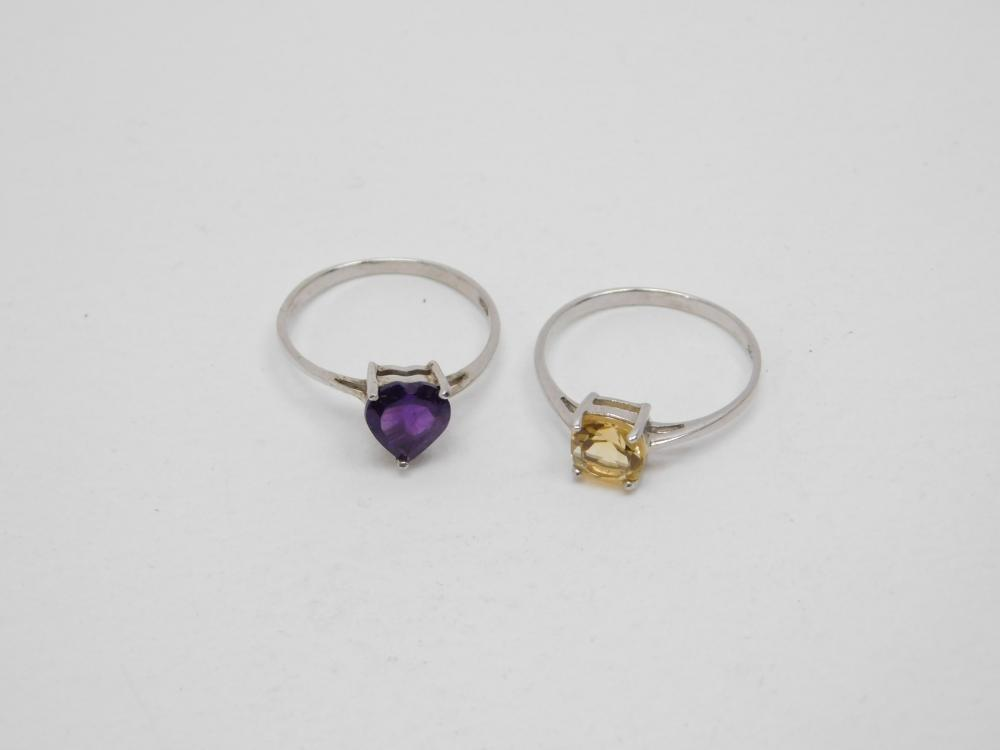 2 Sterling Silver Amethyst & Citrine Crystal Solitaire Rings 2.3G Sz7.25