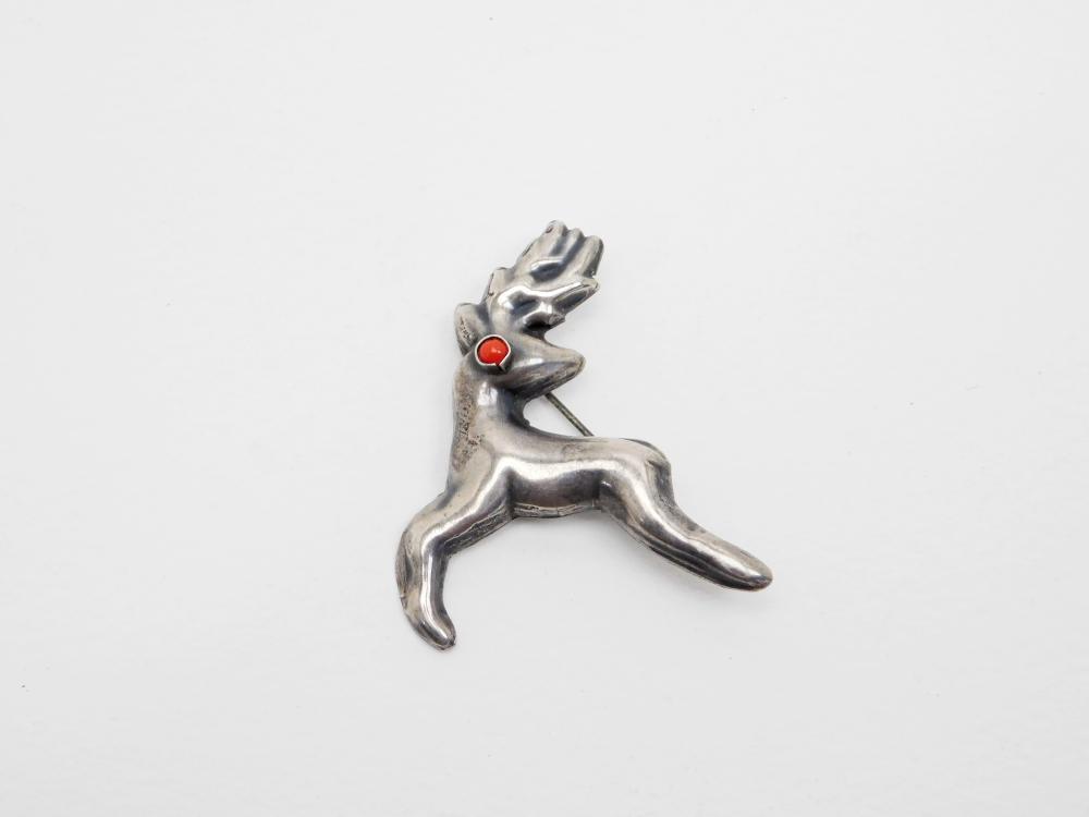 Vintage Mexico Sterling Silver Puffy Deer Brooch Rudolph Reindeer 4.7G
